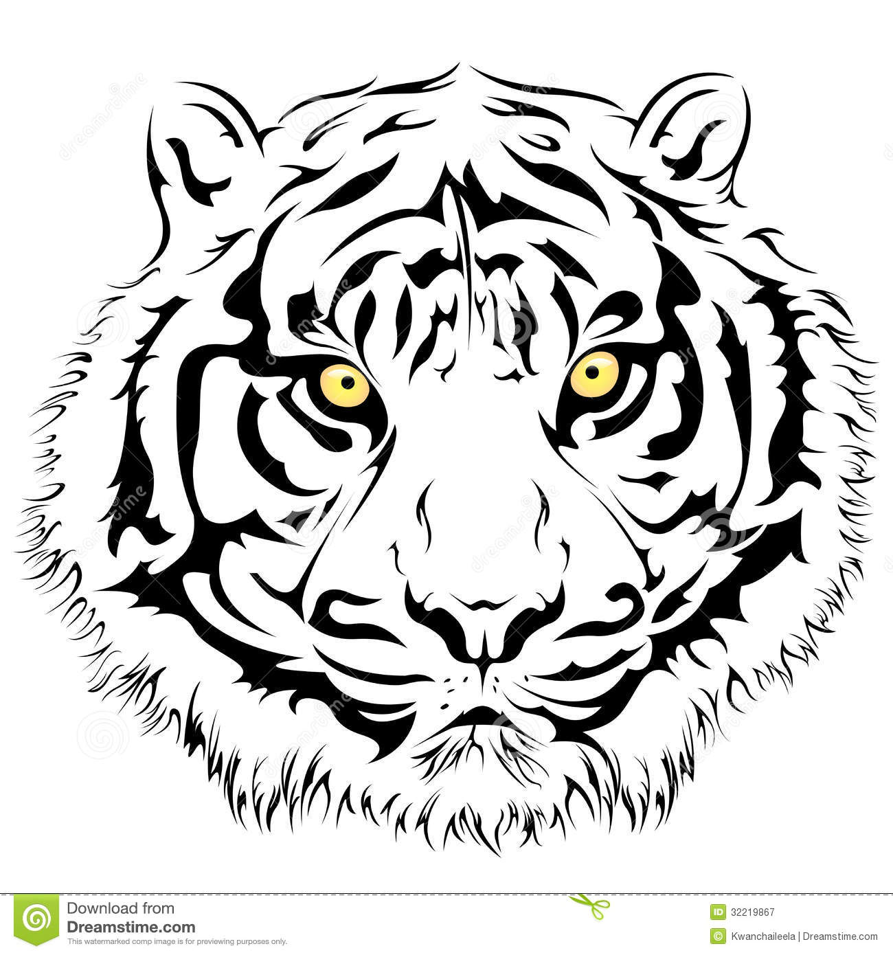 Tiger Face Vector Stock Vector Illustration Of Element