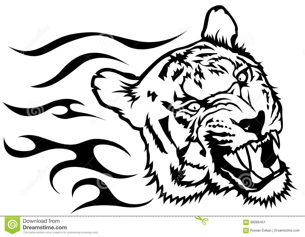 Tiger Head With Flames Stock Vector Illustration Of