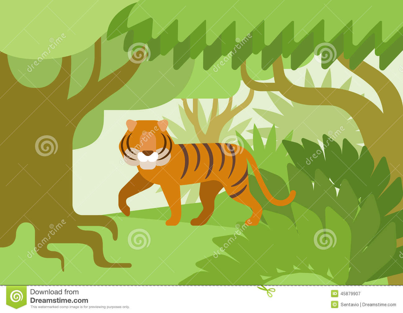 Tiger Jungle Habitat Flat Design Cartoon Vector Wild