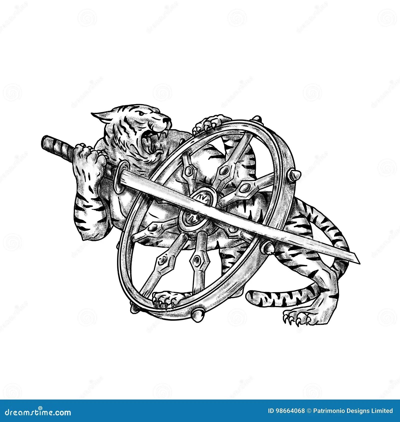 Tiger With Katana And Dharma Wheel Tattoo Stock
