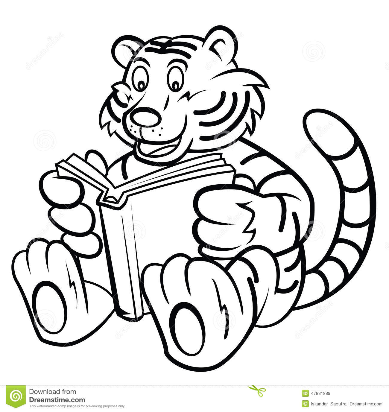 Tiger Kid Read A Book Stock Vector Illustration Of Fauna