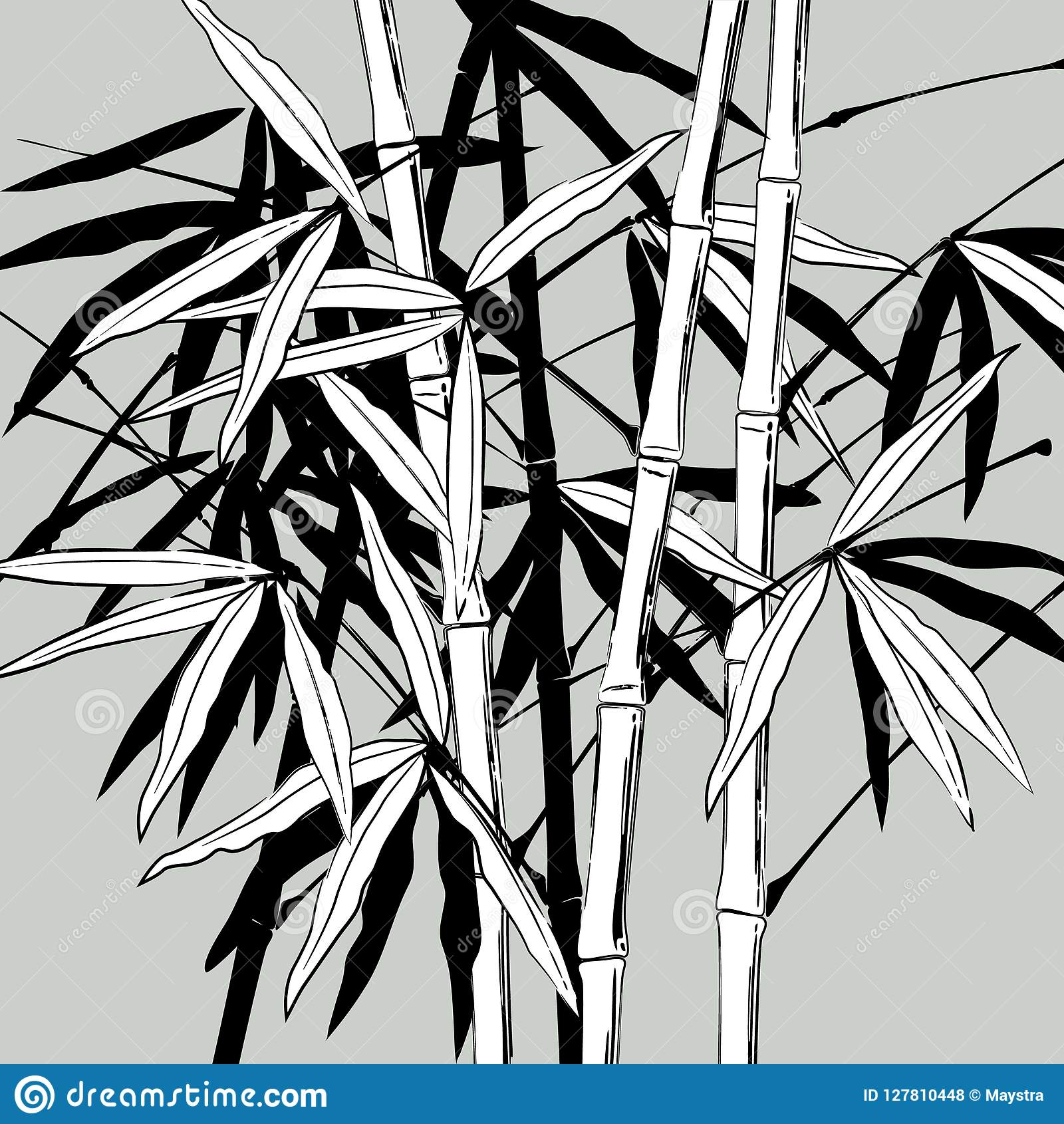 feuilles en noir et blanc illustration