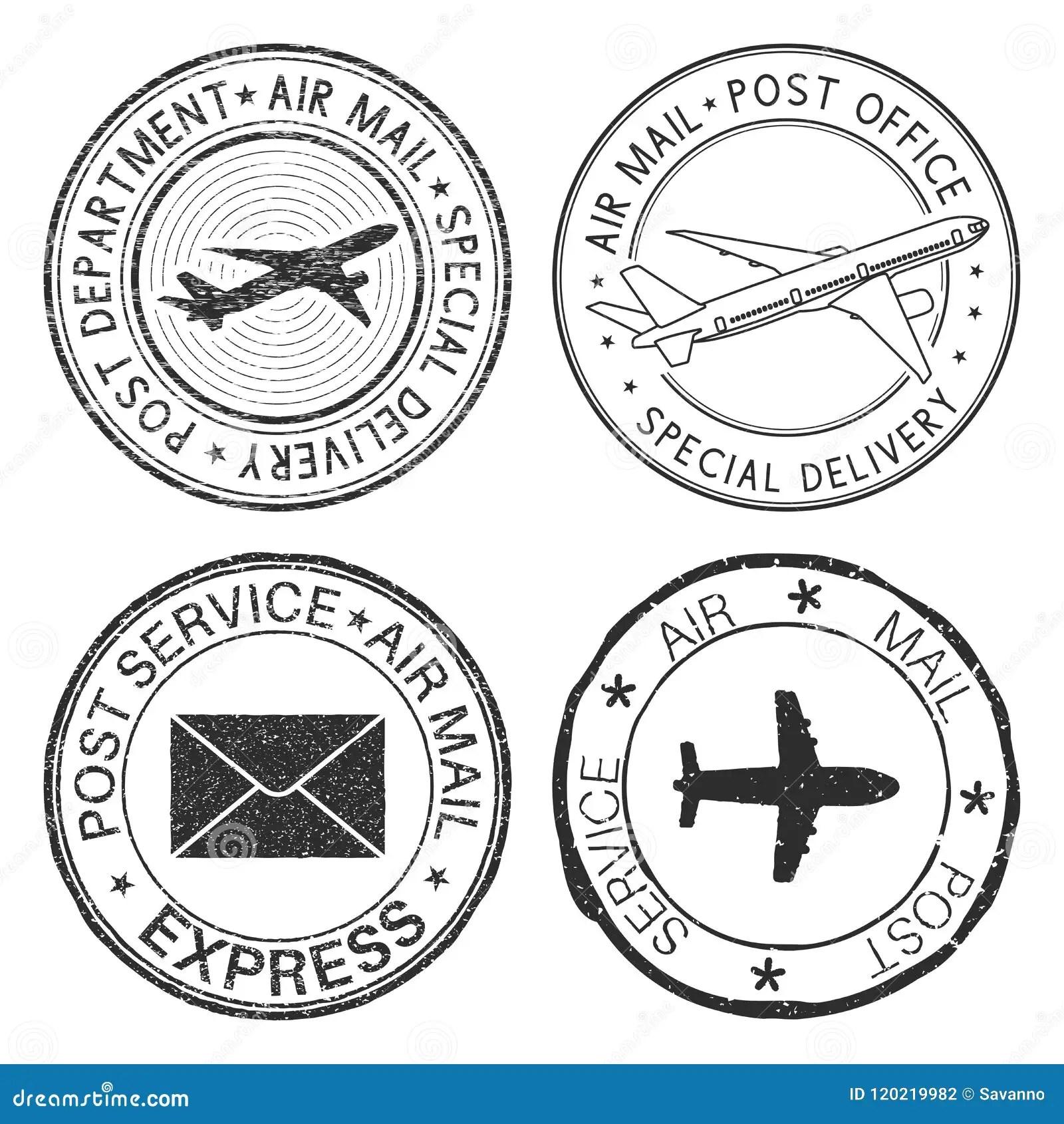 Timbri Postali Con I Simboli Della Busta E Dell Aeroplano