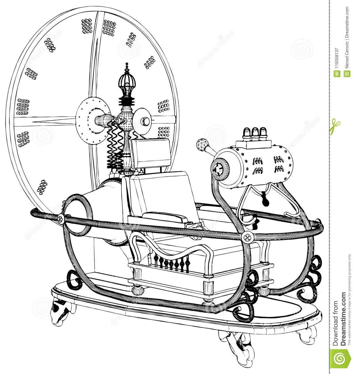Time Machine Isolated On White Background Vector Stock