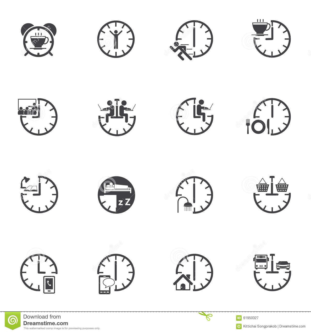 Time With Daily Routine Icon Set Stock Vector