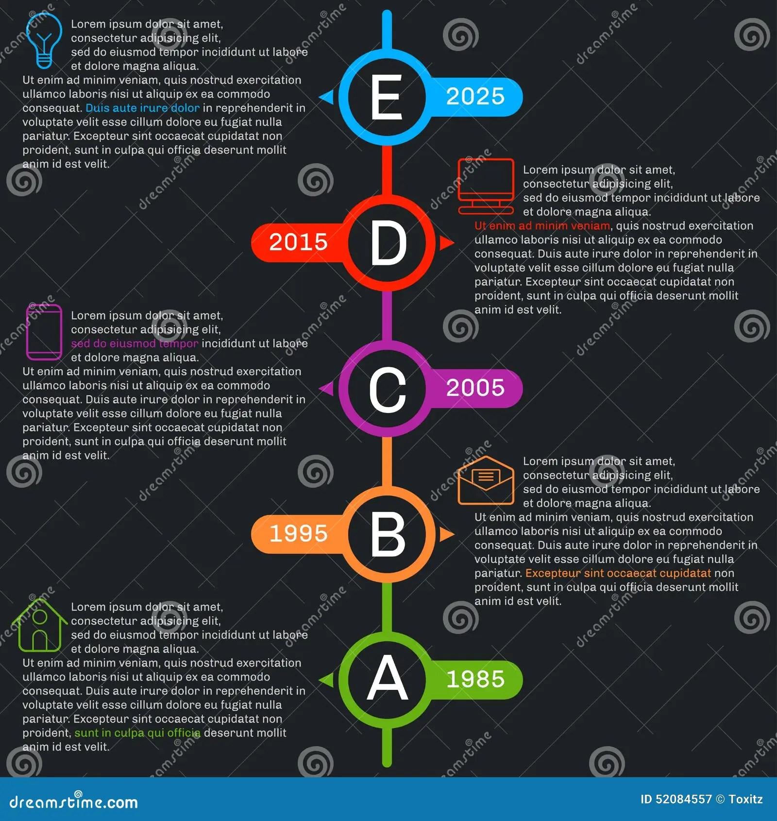 Timeline Template Infographics Vertical Progress Stock Vector Image 52084557