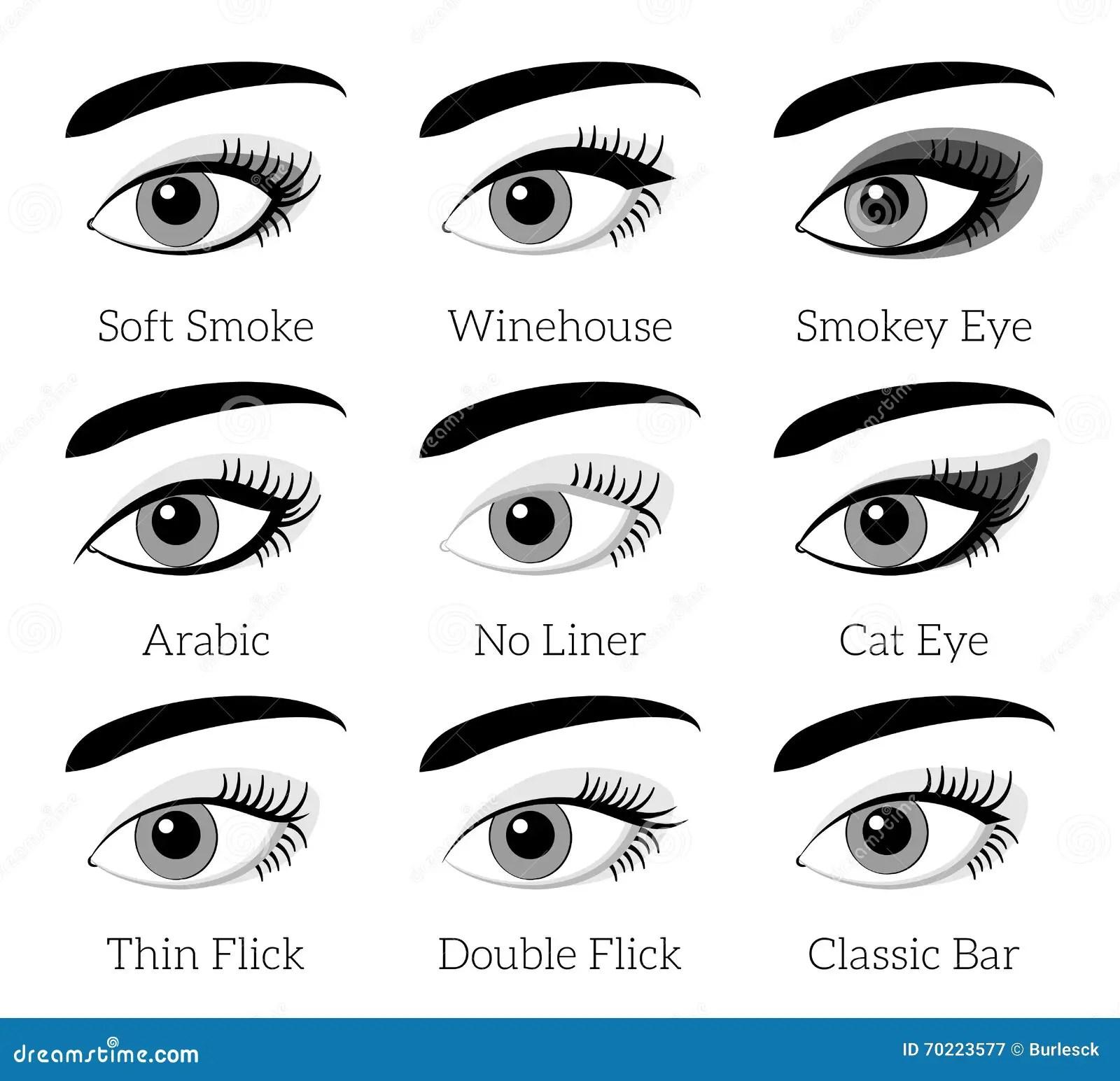 Tipi Di Trucco Dell Occhio Vettore Infographic