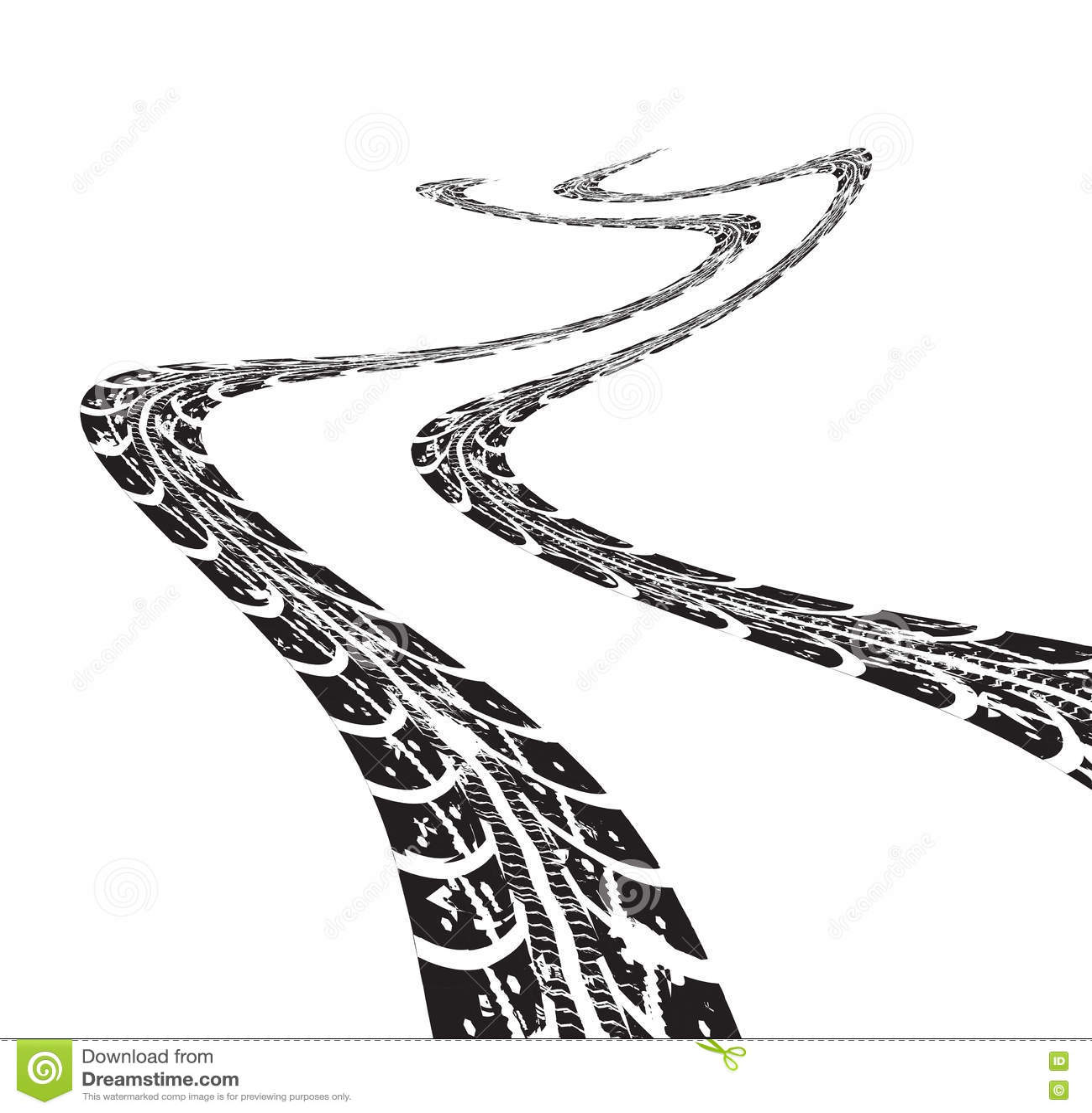 Tire Tracks Vector Cartoon Vector