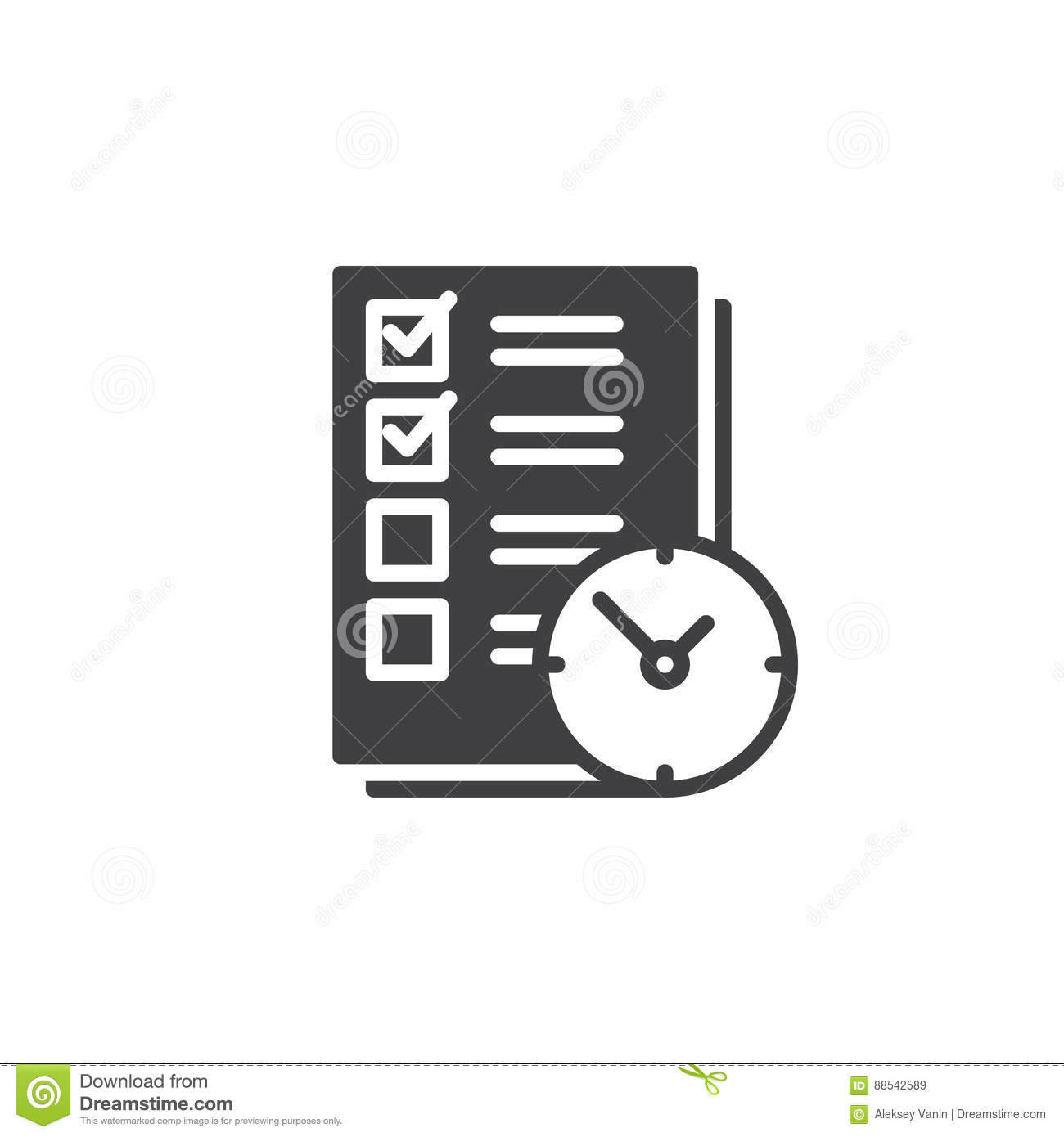 To Do List With Clock Icon Vector Filled Flat Sign Solid