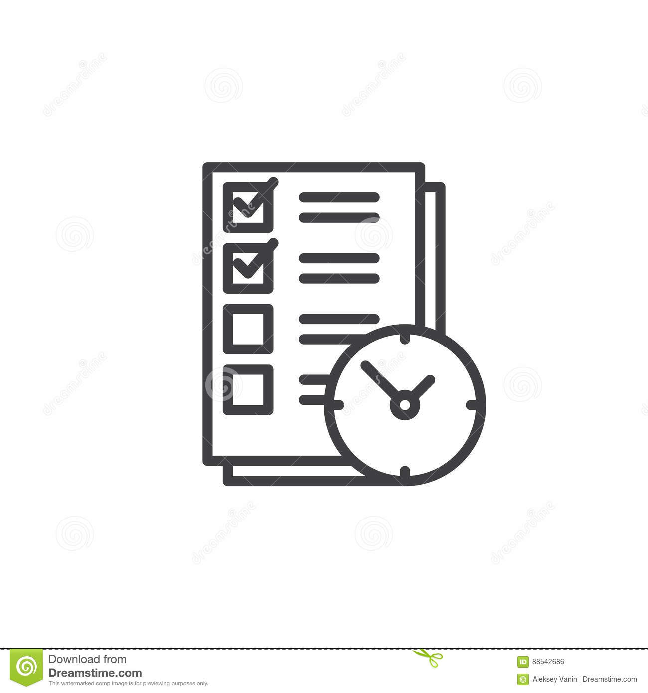 To Do List With Clock Line Icon Outline Vector Sign