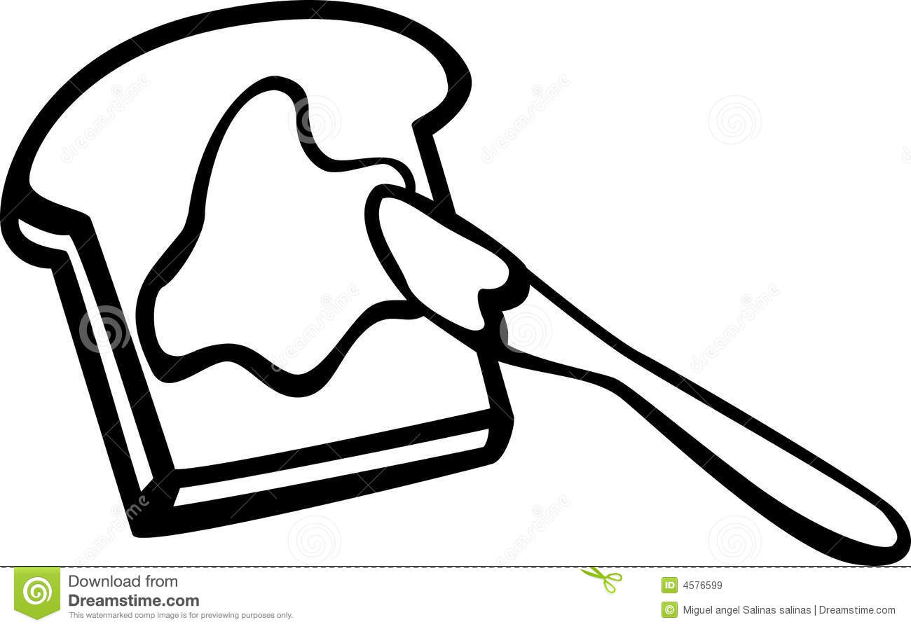 Toast With Butter And Knife Vector Illustration Stock