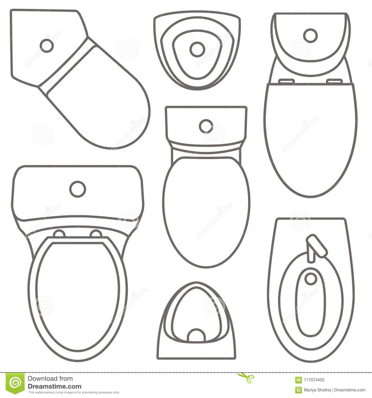 Top View Of Black Toilet Bowl Isolated On White Royalty
