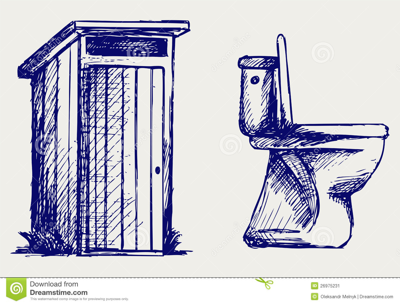 Toilet Sketch Stock Vector Image Of Outline Artistic