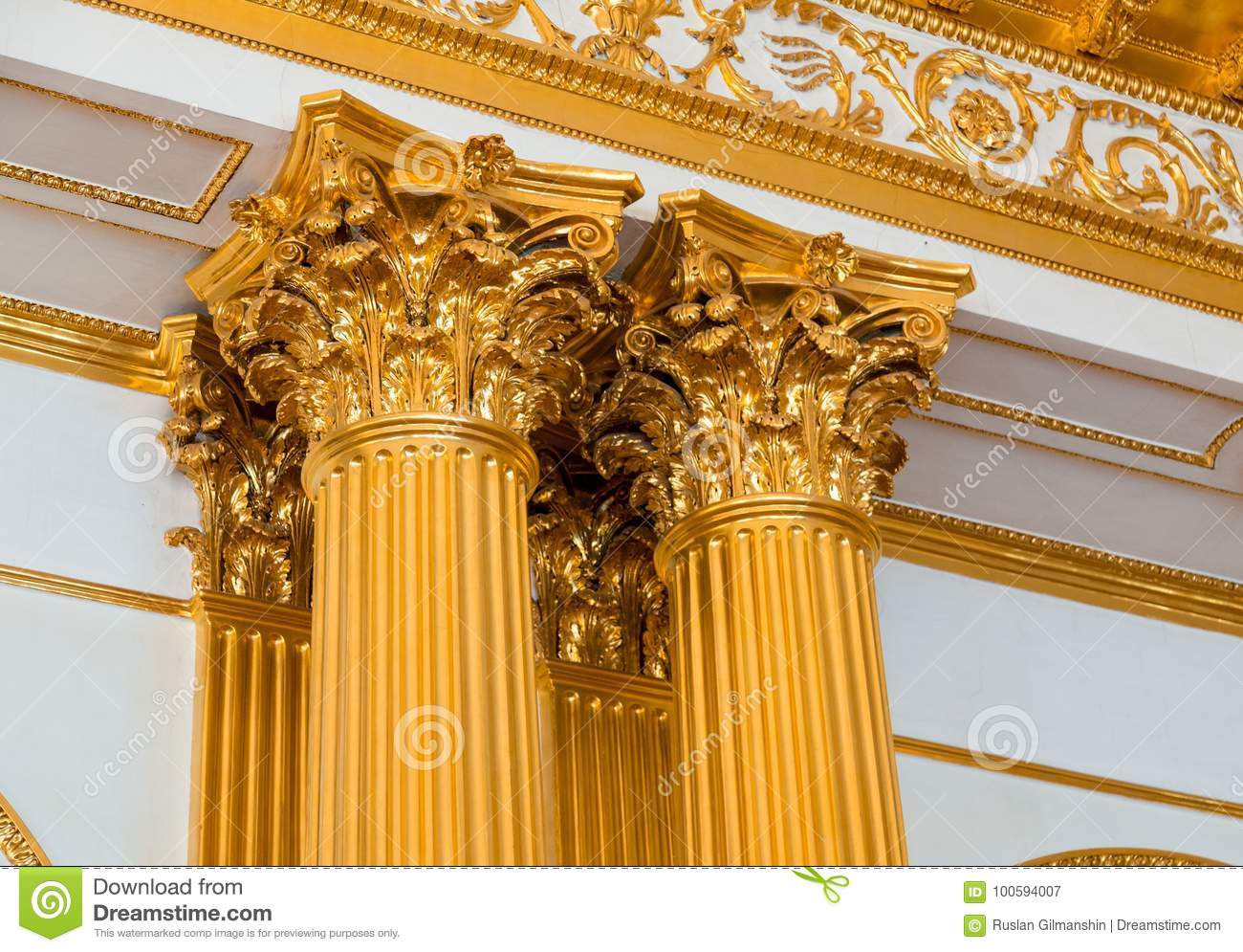 Top Part Of Pillar Greek Style Columns With Golden Top