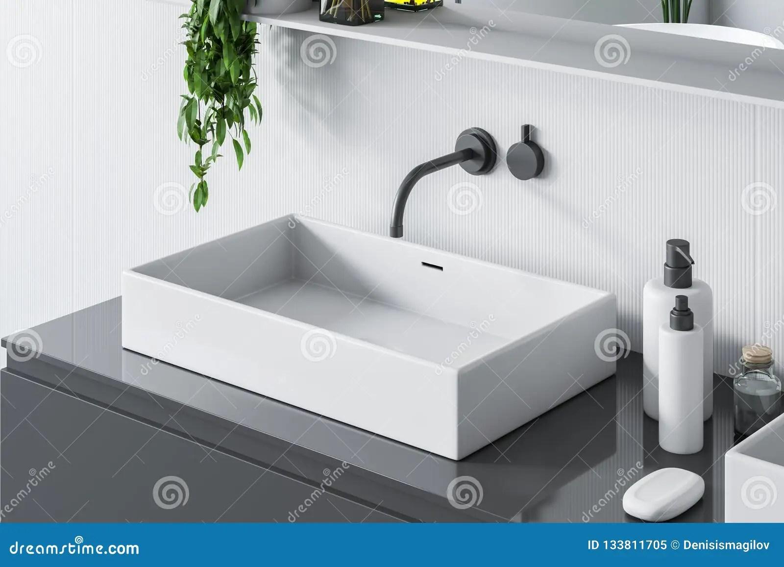 https www dreamstime com top view bathroom sink gray counter rectangular white standing countertop room walls mirror d rendering image133811705
