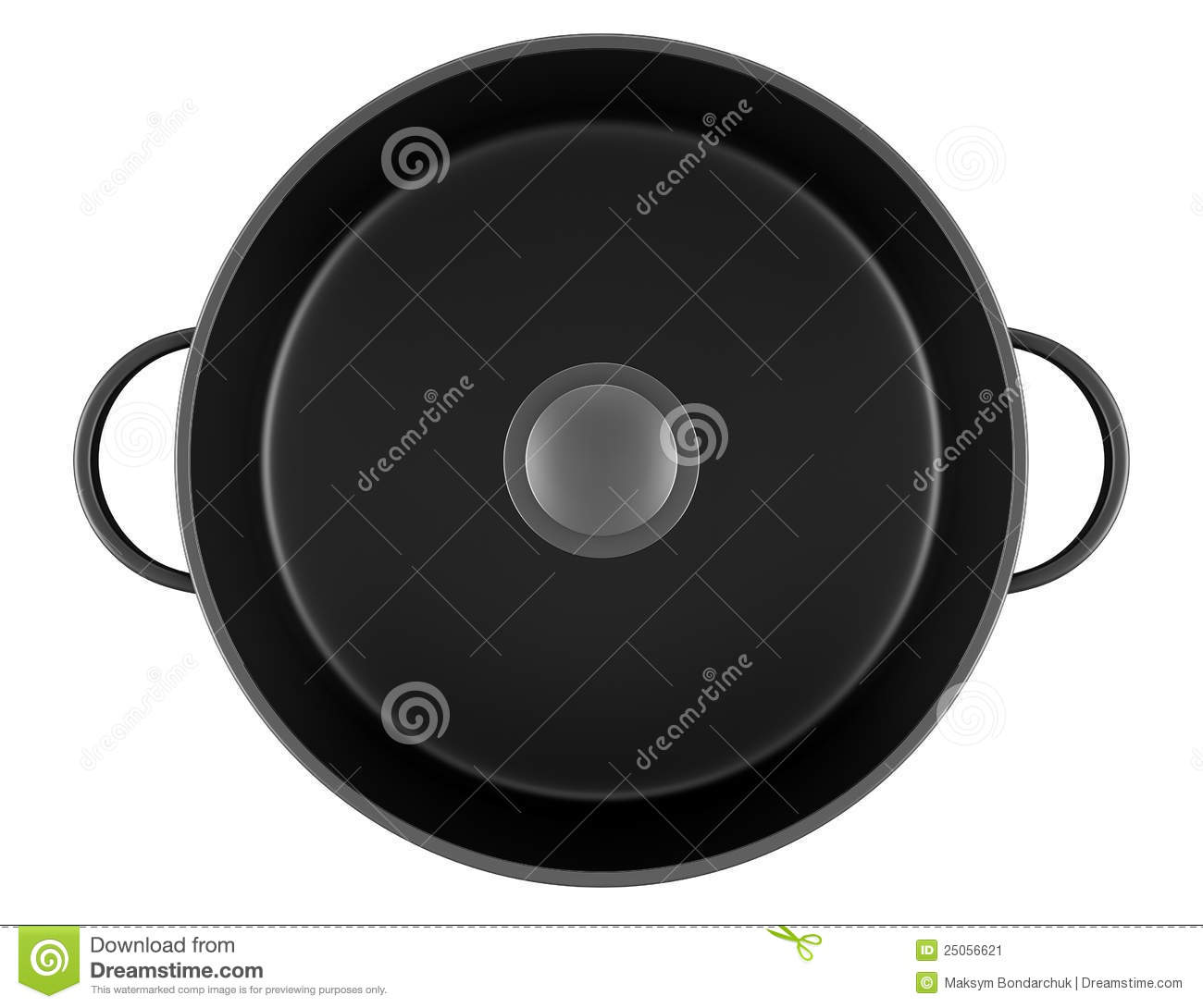 Top View Of Black Cooking Pan Isolated On White Stock