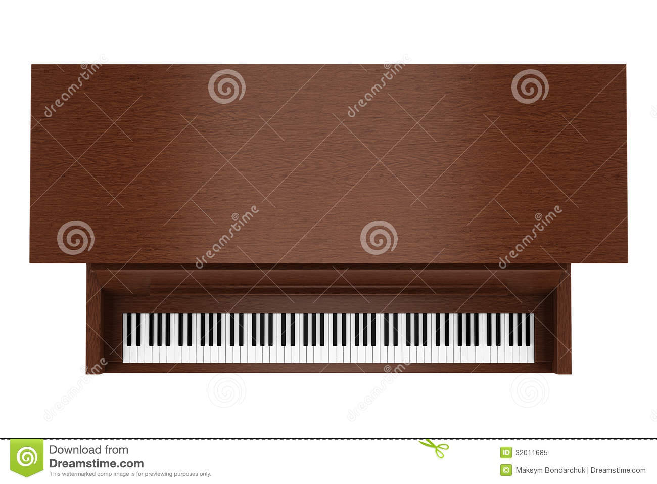 Top View Of Brown Upright Piano Isolated On White Royalty