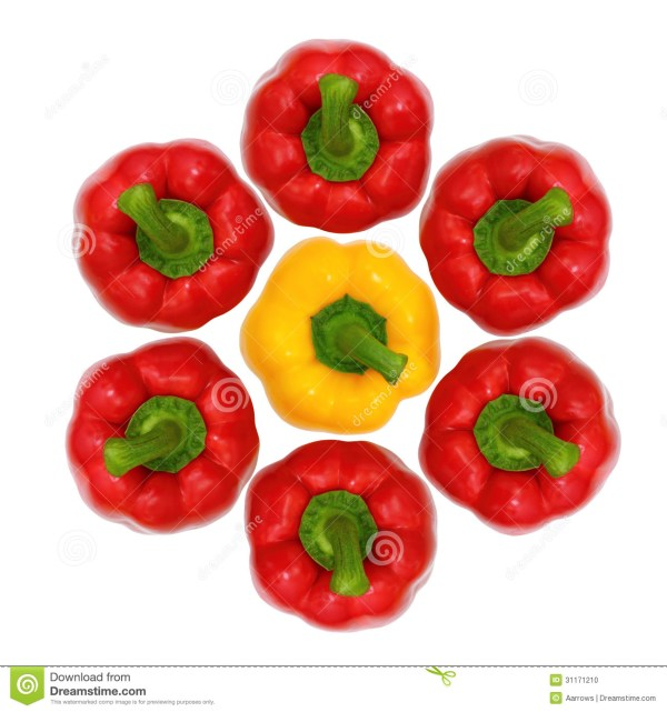 Top View Red And Yellow Sweet Bell Pepper Stock Photo