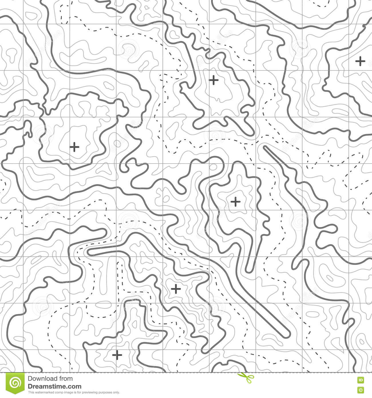 Topographic Map Vector Background With Mountain Texture