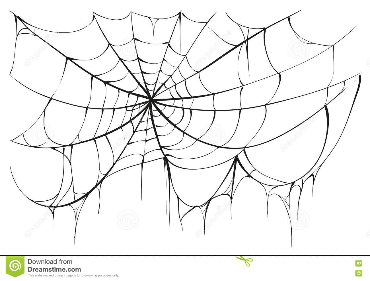 Torn Spider Web On White Background Stock Vector