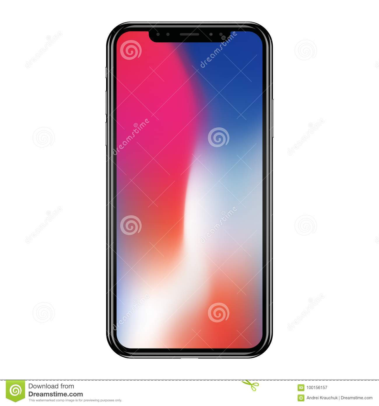 Apple IPhone X Isolated On White Background  Realistic Vector     Toronto  Canada   September  18  2017  front view of black Apple iPhone X  isolated on white background  Realistic vector illustration