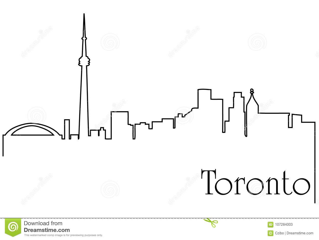 Toronto City One Line Drawing Abstract Background Stock