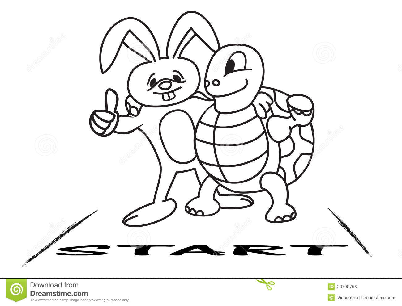 Tortoise And Hare At The Starting Line Royalty Free Stock Image