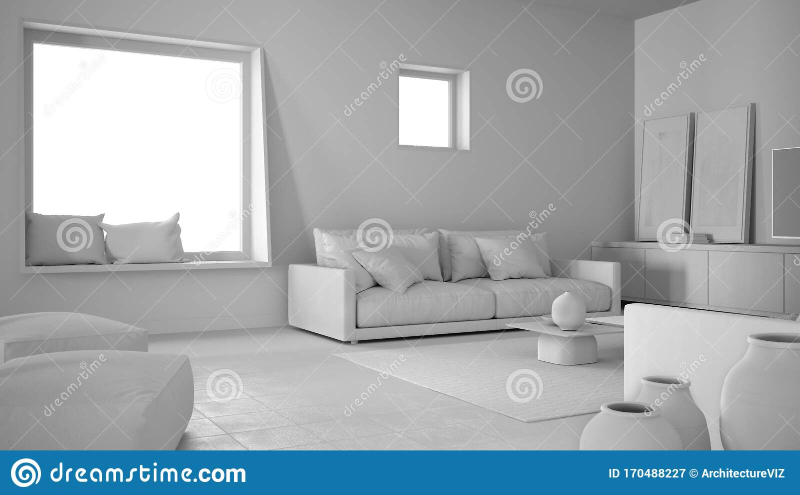 https www dreamstime com total white project draft cosy living room sofa pillows lounge carpet coffee table vases pouf decors big square window image170488227