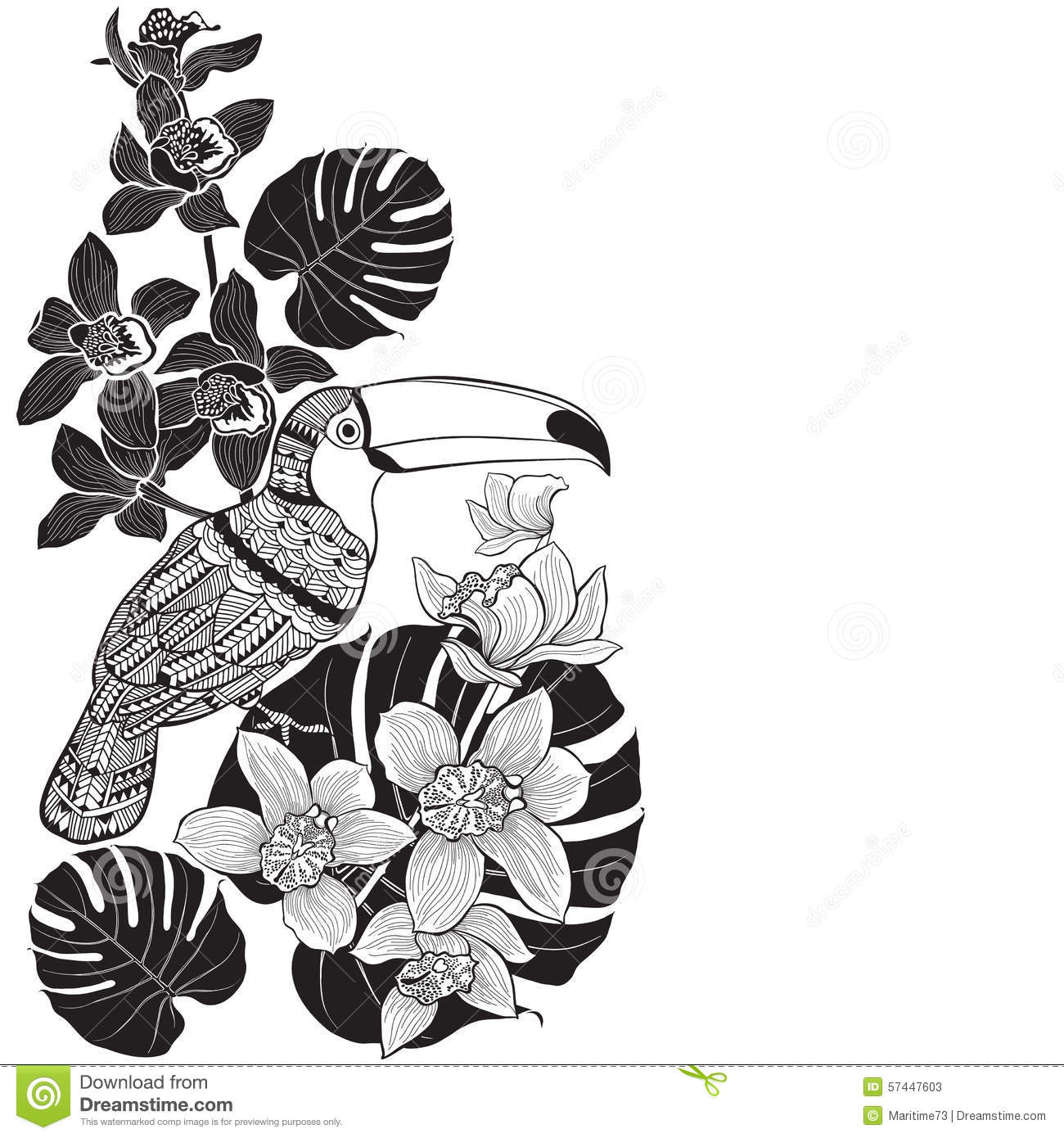 Toucan With Tropical Floral Monochrome Tropical