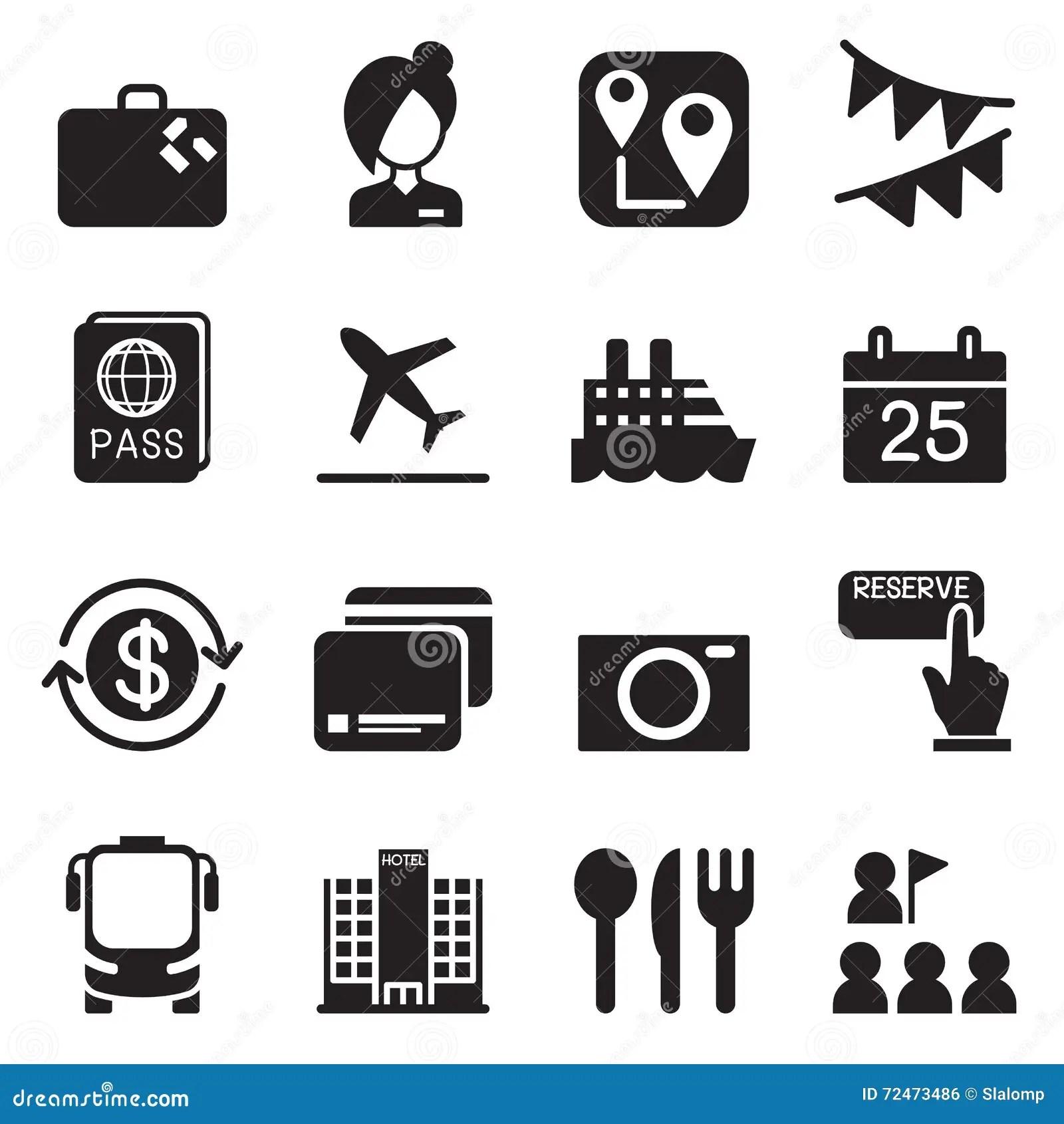 Tourism Amp Tourist Icons Set Vector Illustration Stock