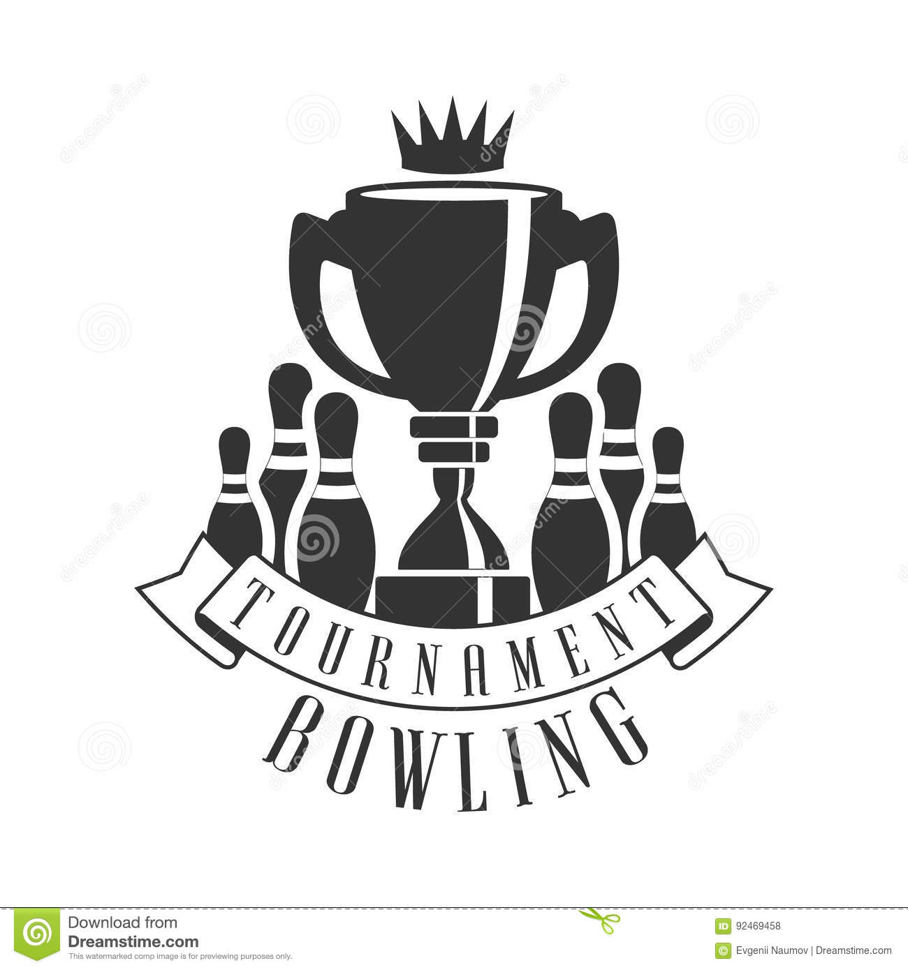 Tournament Bowling Vintage Label Black And White Vector