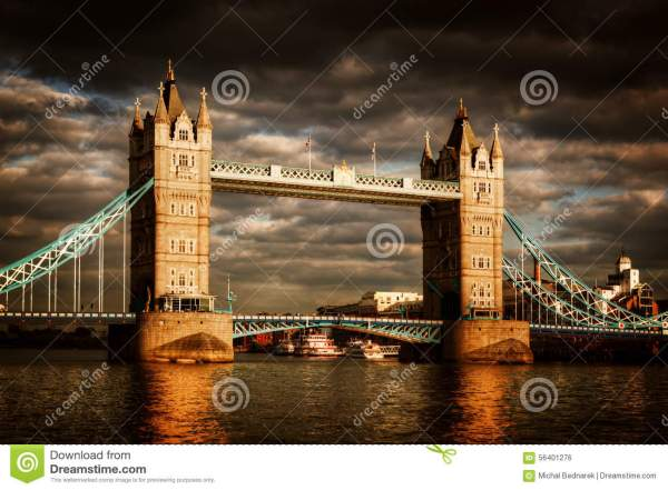 Tower Bridge In London, The UK. Dramatic Stormy And Rainy ...