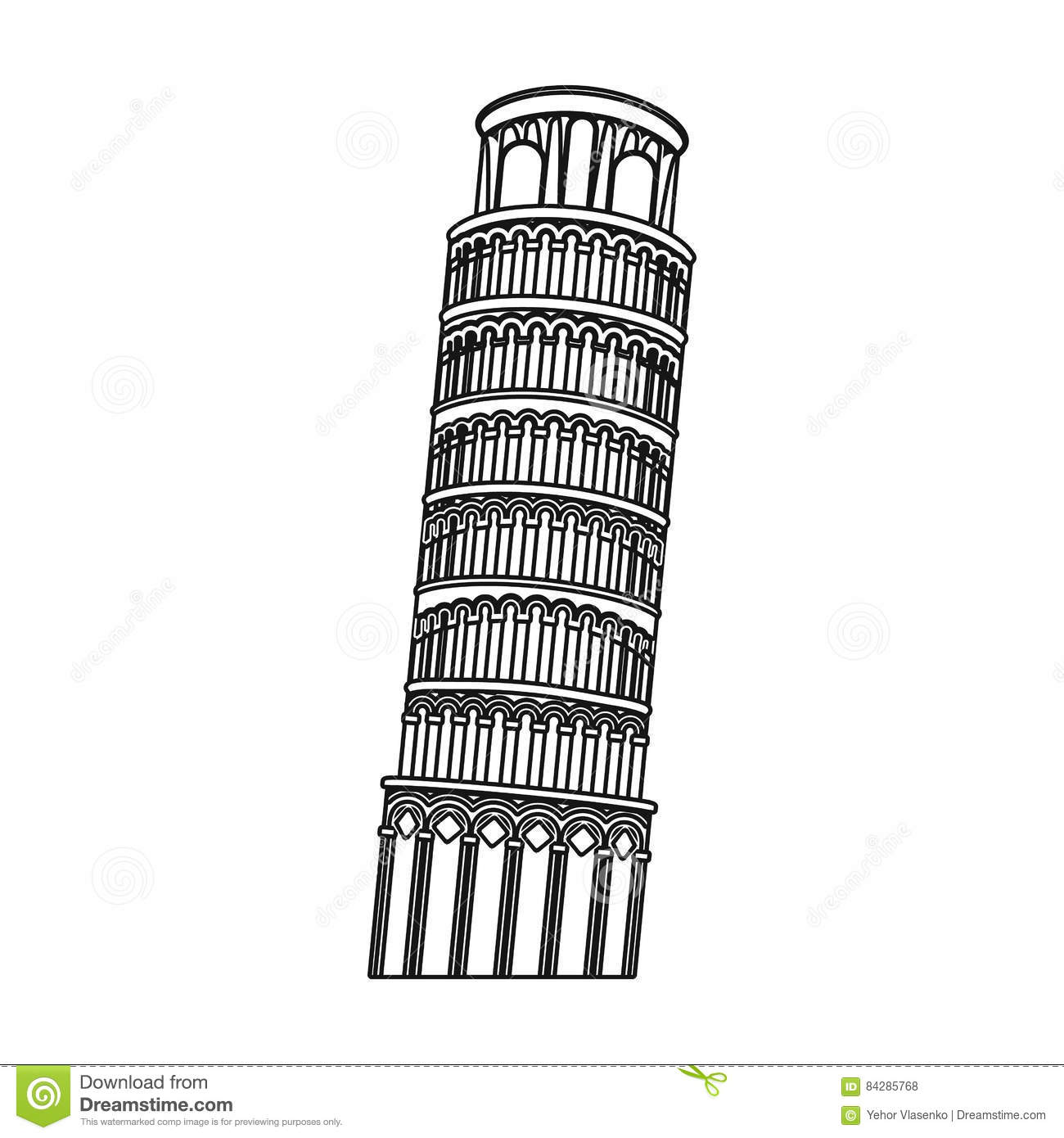 Tower Of Pisa In Italy Icon In Outline Style Isolated On