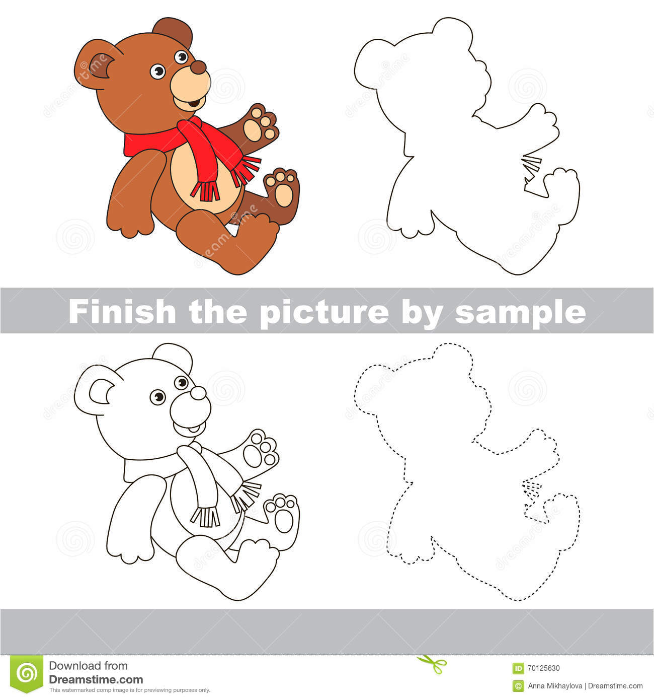 Toy Bear Drawing Worksheet Stock Vector