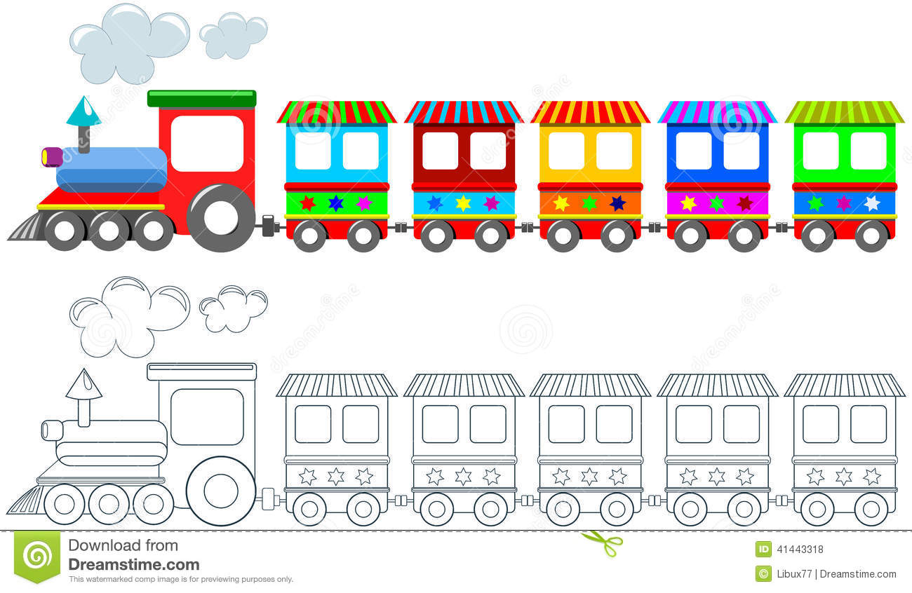 Toy Colorful Train Coloring Page Isolated Stock Vector