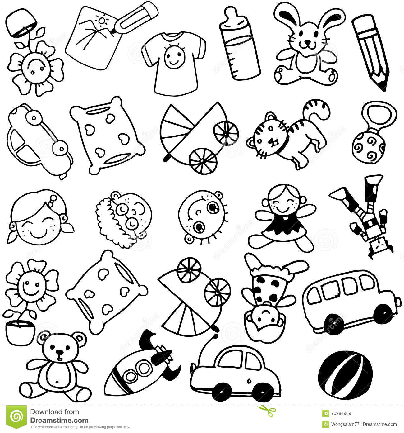 Toy Doodle Art For Kids Stock Vector Illustration Of