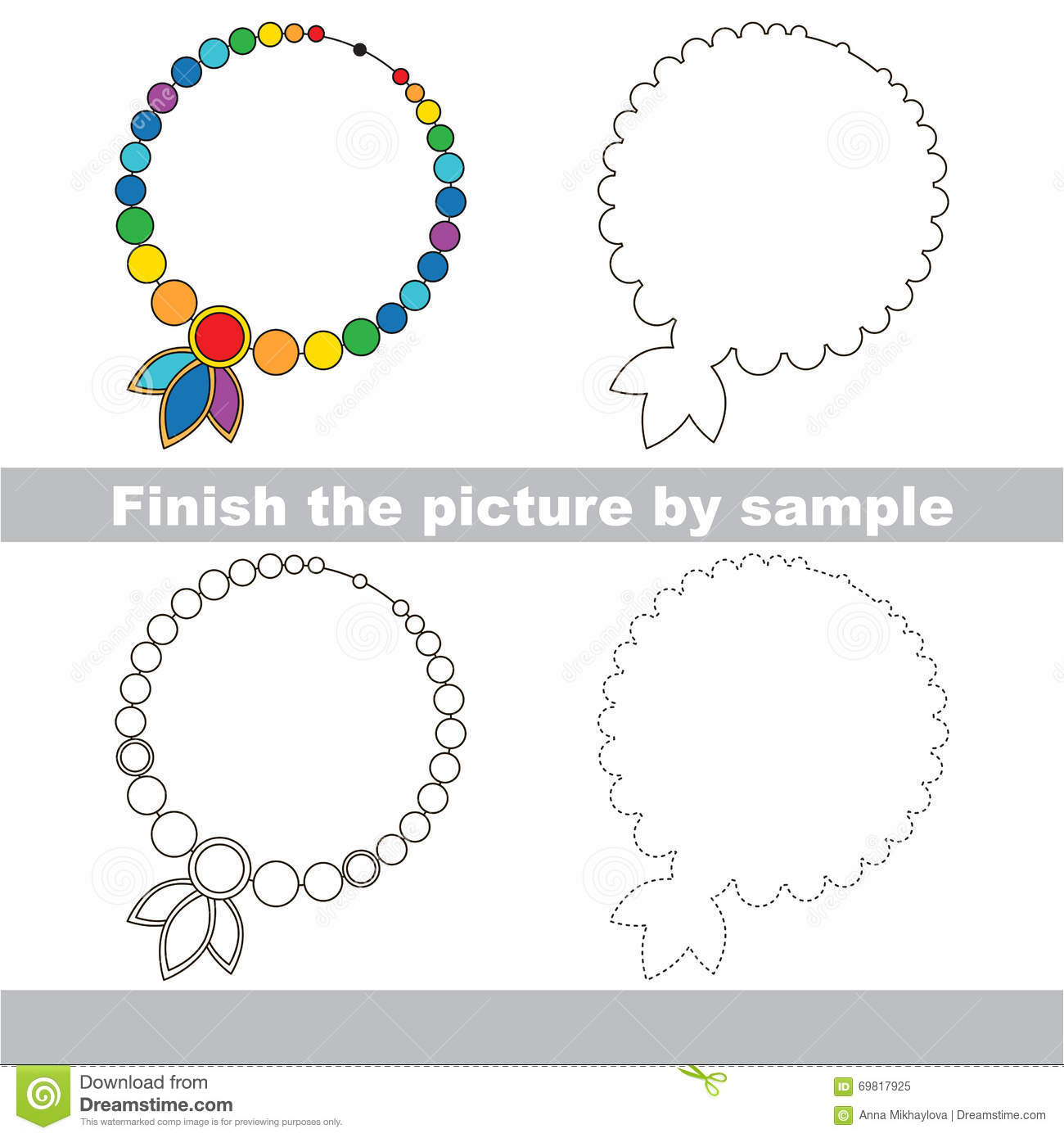 Toy Necklace Drawing Worksheet Stock Vector