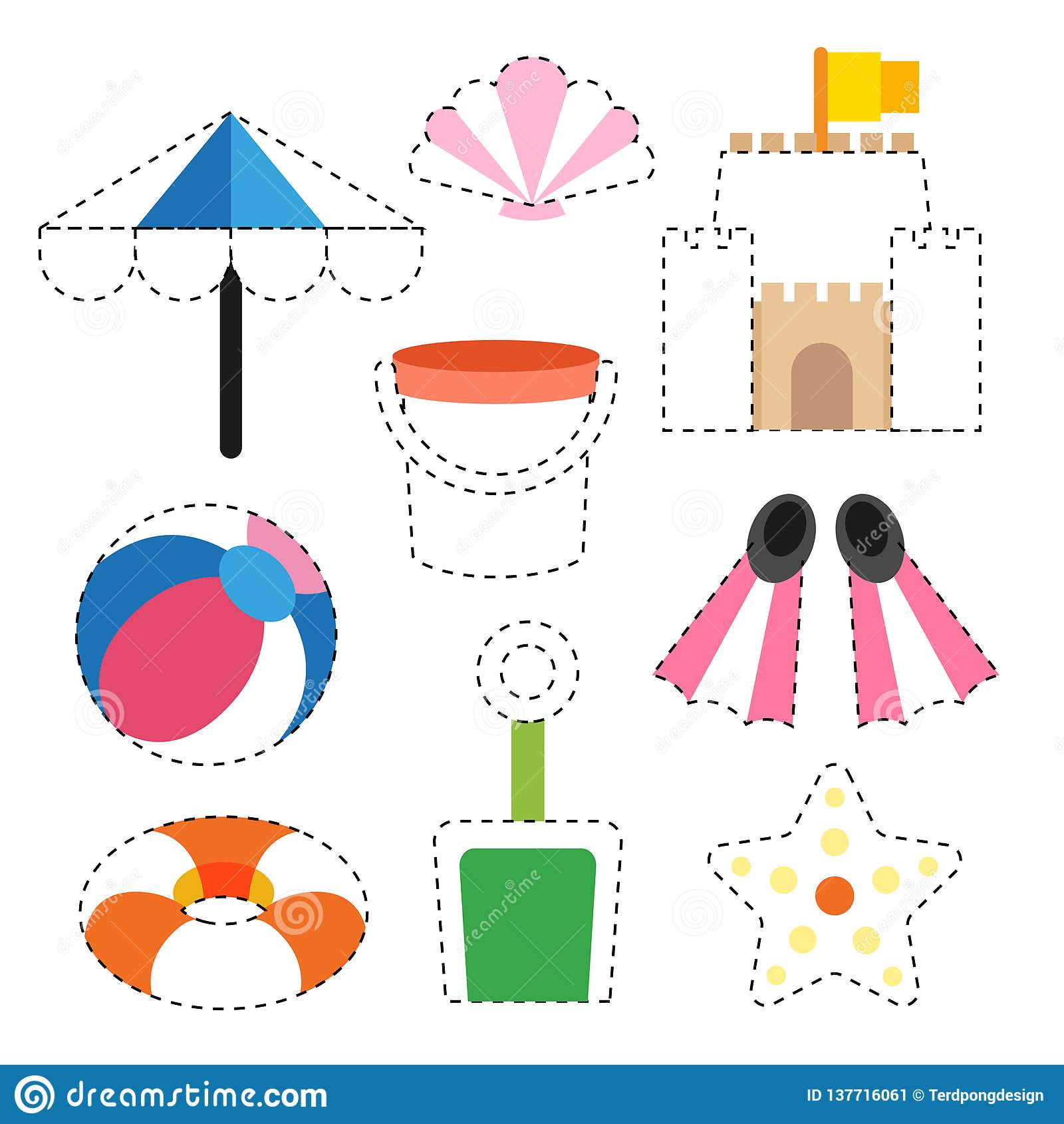 Toy Worksheet Vector Design Stock Vector