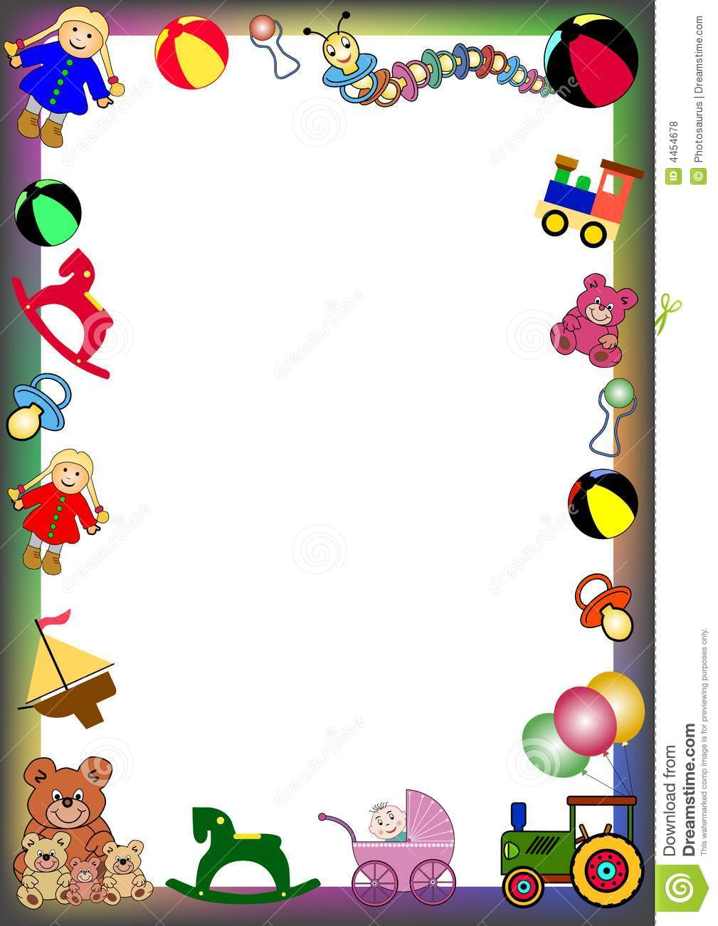 Toys Border Stock Vector Illustration Of Float Card