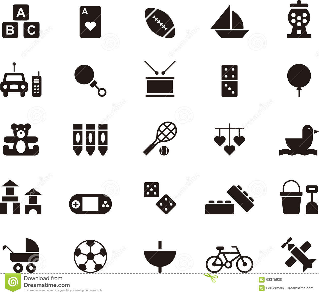 Toys And Games Icon Set Stock Vector Illustration Of Boat