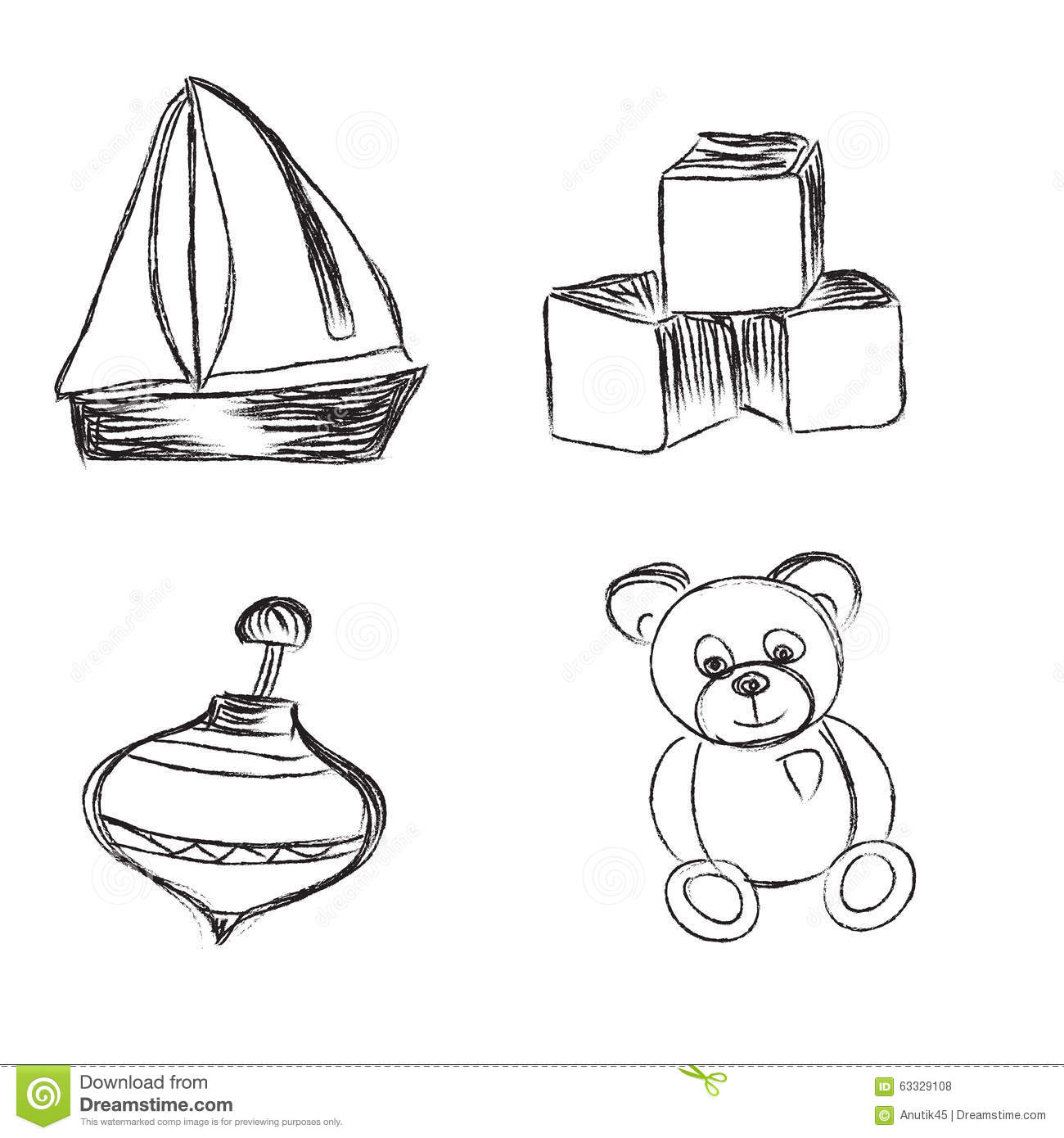 Toys Sketch Icons Set Cartoon Vector