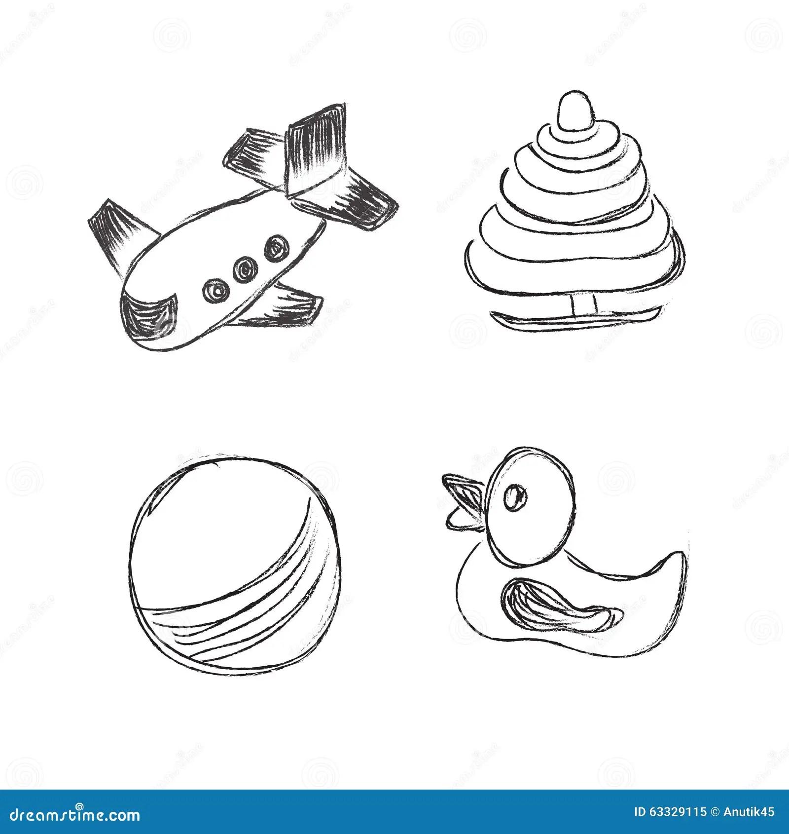 Toys Icons Sketch Illustration Set Clip Art Hand
