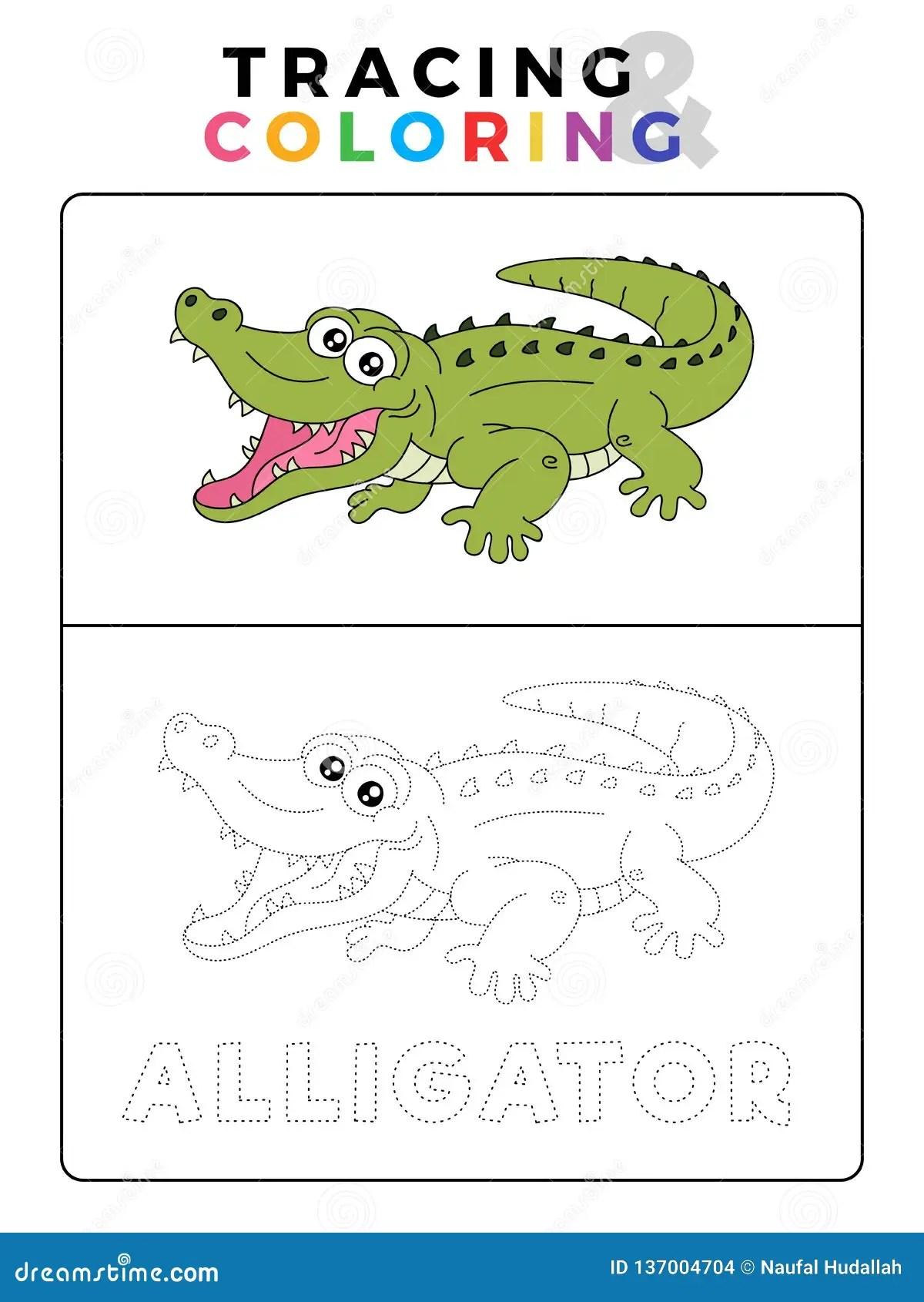 Tracciato Animale E Libro Da Colorare Del Coccodrillo