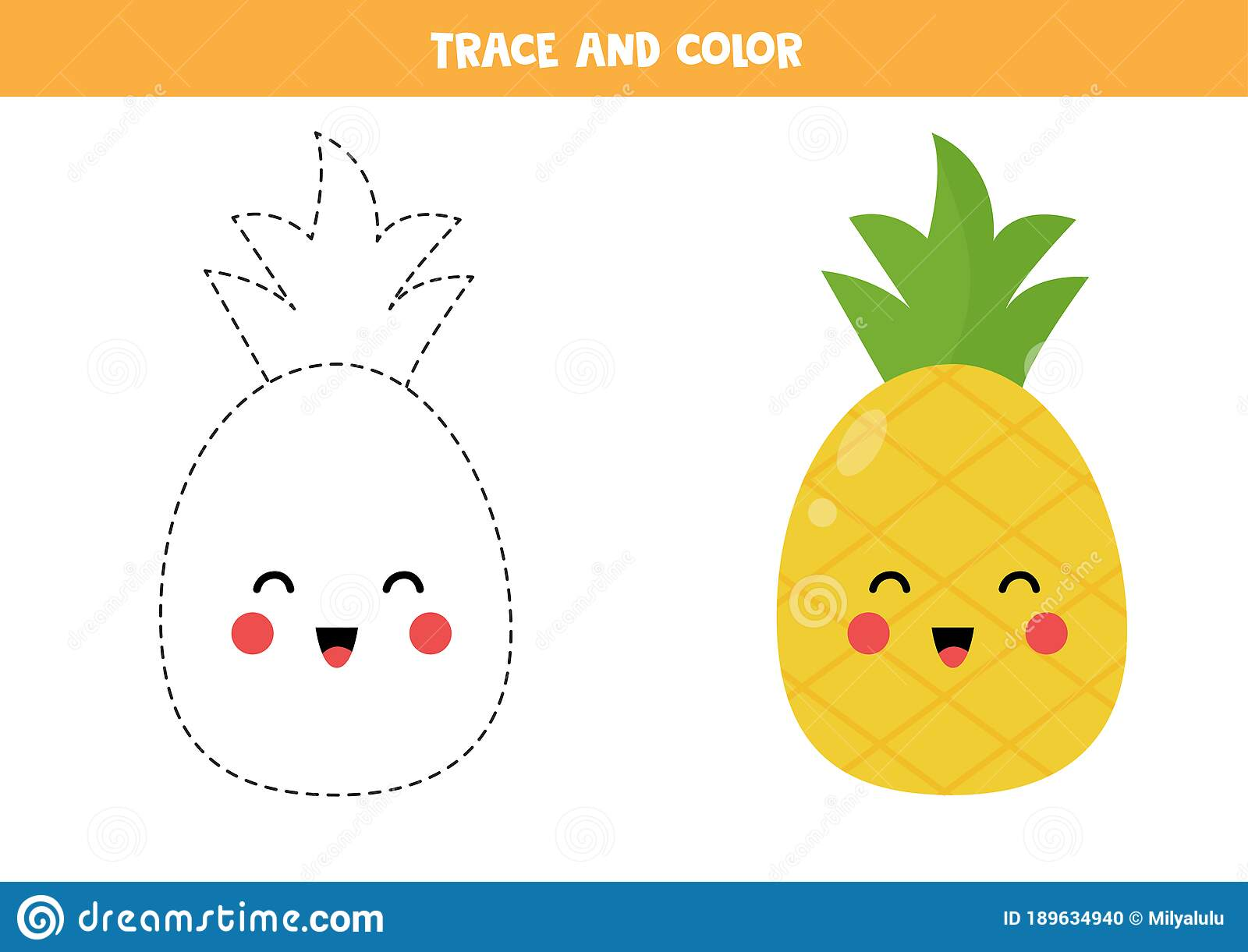 Trace And Color Cute Kawaii Pineapple Fruit Stock Vector