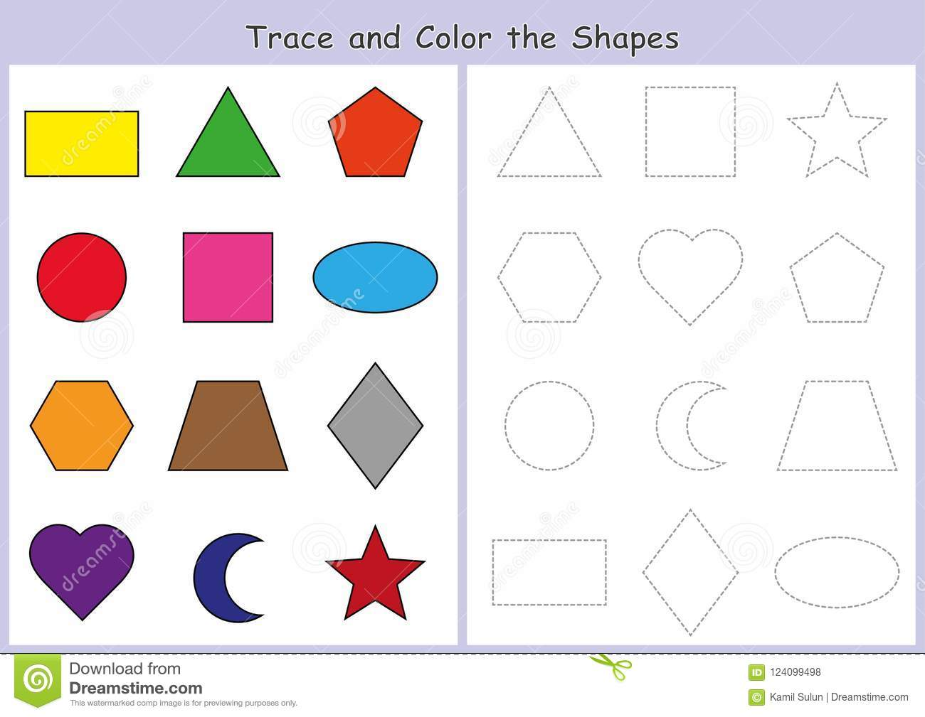 Tracing And Color The Geometric Shapes Worksheet For Kids Stock Illustration