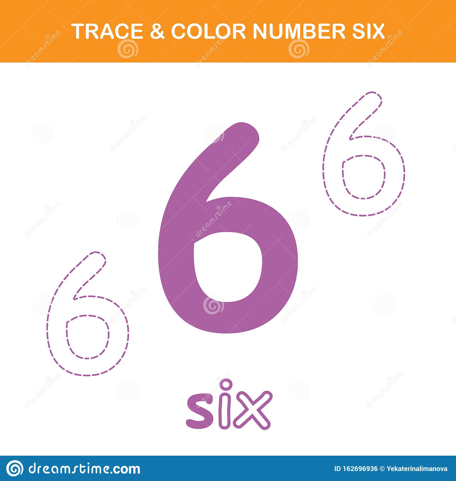 Trace Amp Color Number 6 Worksheet Stock Vector