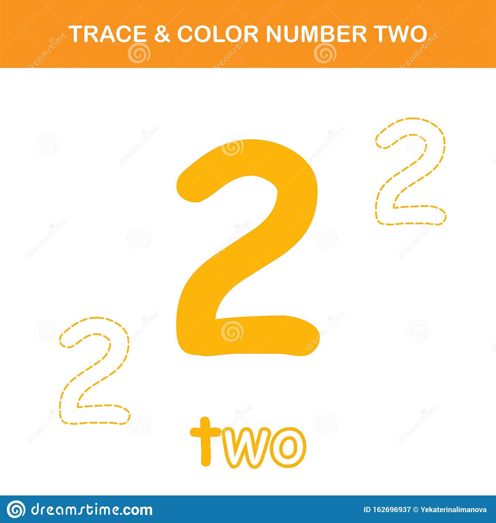 Trace Amp Color Number 2 Worksheet Stock Vector