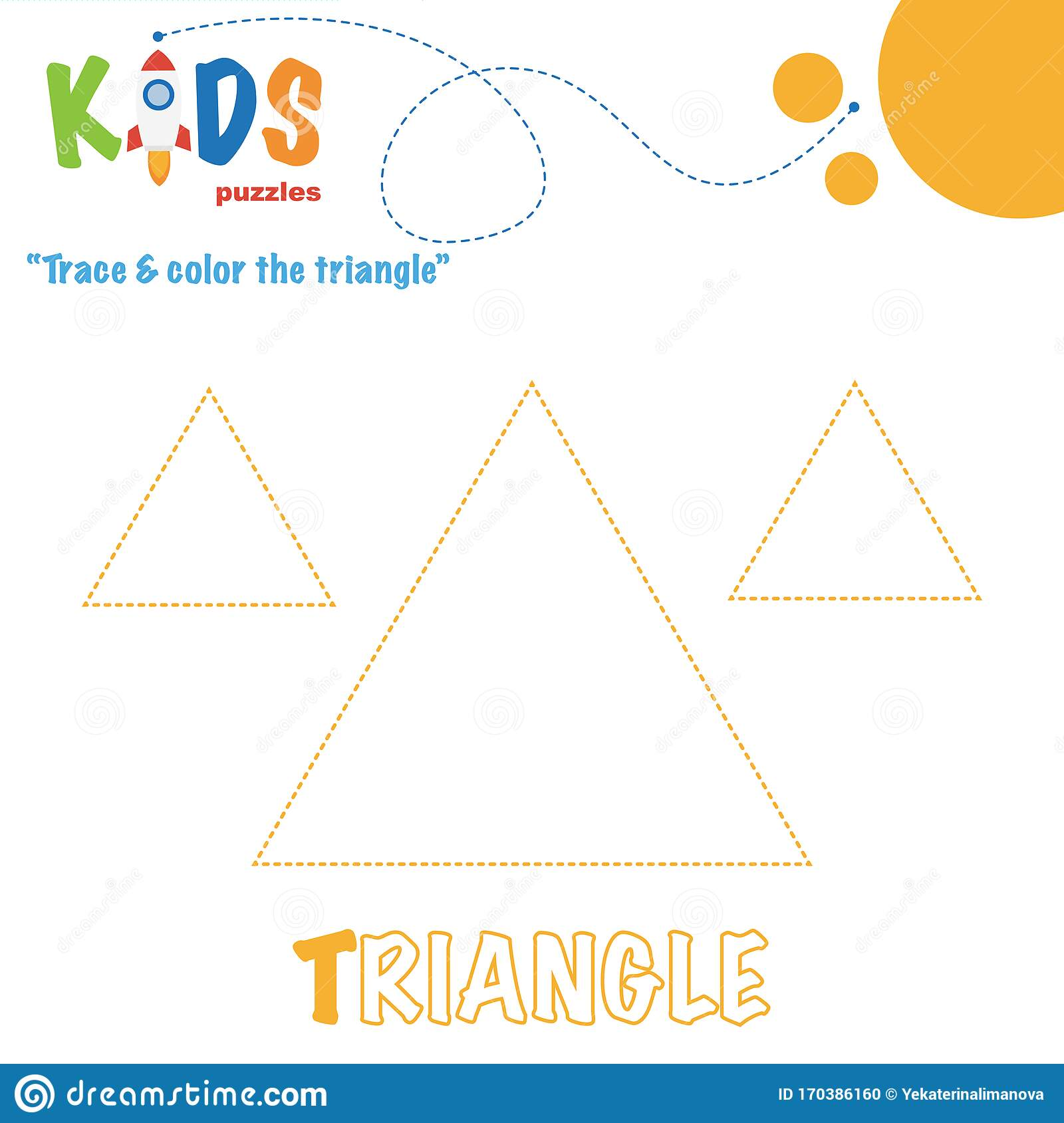 Trace Amp Color The Shape Preschool Worksheet Practice