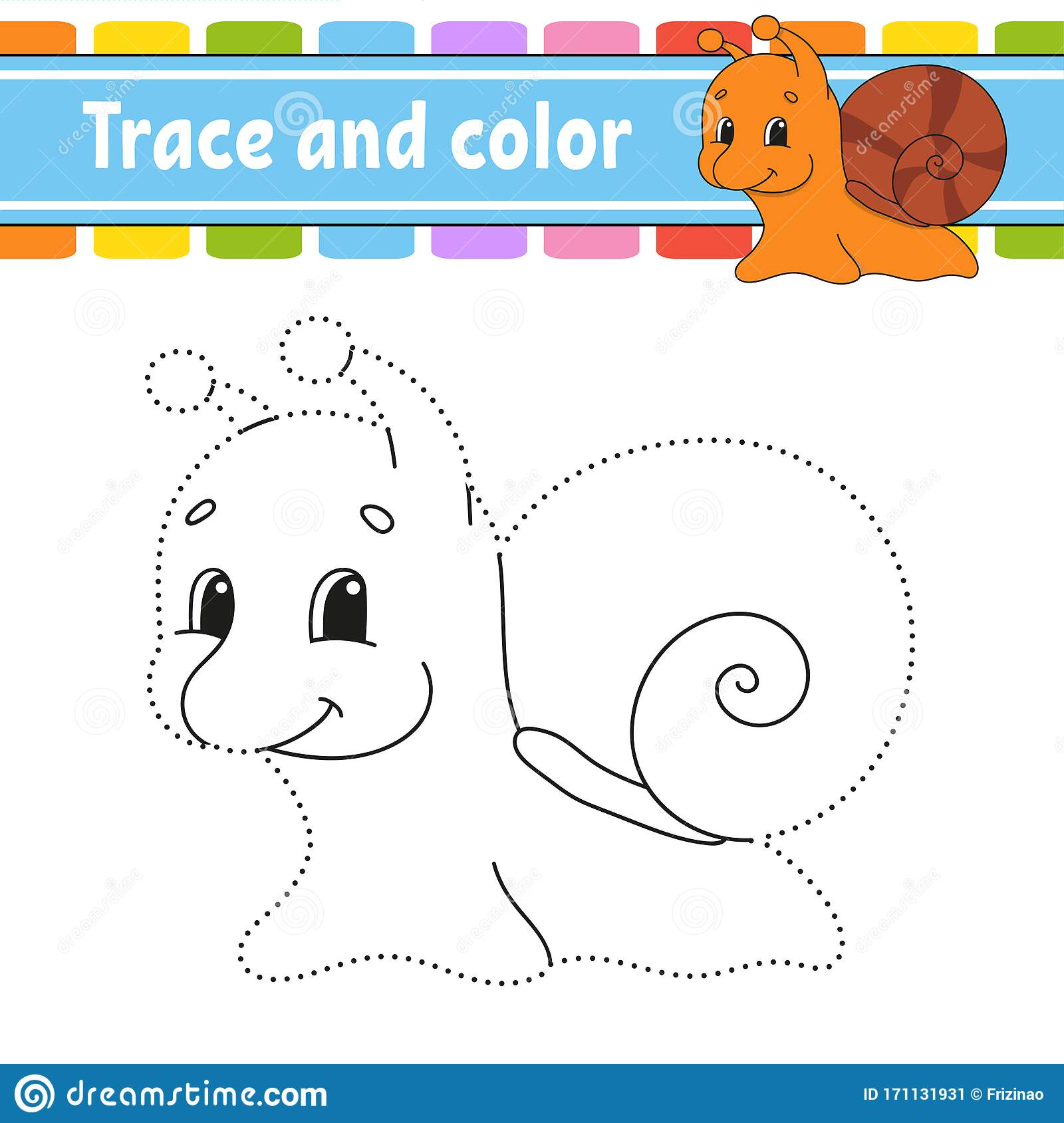 Trace And Color Snail Mollusk Coloring Page For Kids
