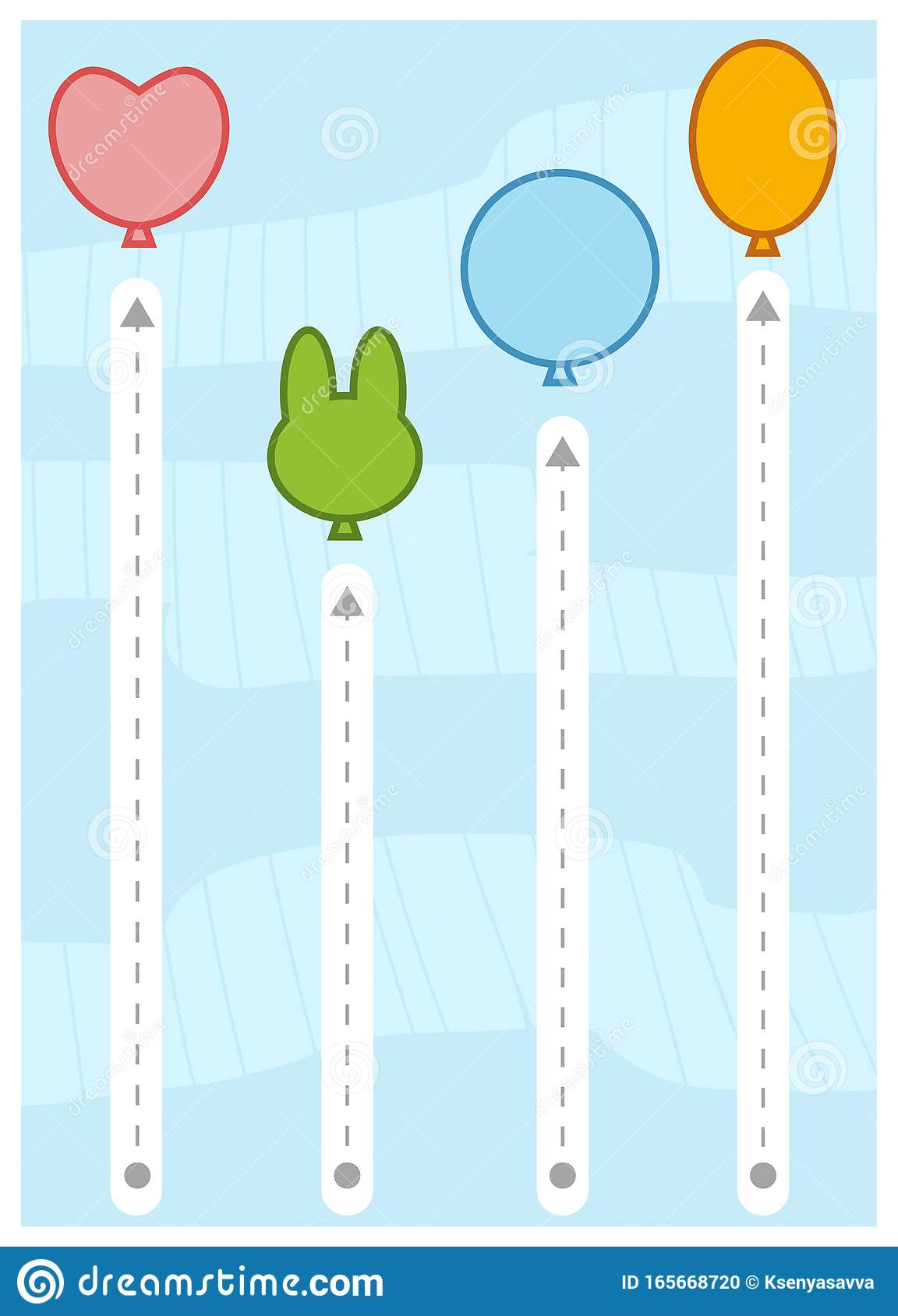 Trace The Dotted Lines To Balloons Education Game For